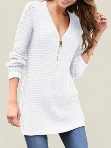 White Zipper V-neck Long Sleeve Casual Pullover Sweater