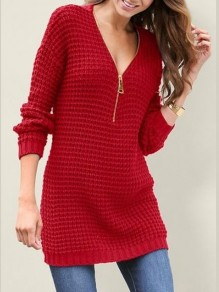 Red Zipper V-neck Long Sleeve Casual Pullover Sweater
