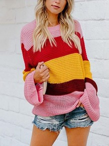 Multicolor Color Block Knitted Flare Sleeve Oversize Baggy Pullover Sweater