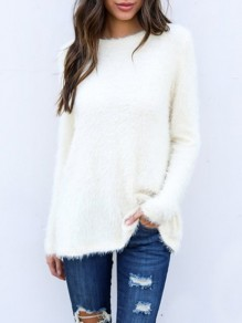 White Fur Round Neck Long Sleeve Casual Sweater