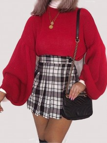 Pullover col rond manches lanterne fashion oversize rouge