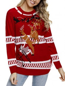 Red Elk Pattern Long Sleeve Christmas Casual Pullover Sweater