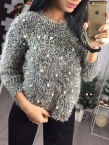 Black Patchwork Pearl Round Neck Long Sleeve Mohair Pullover Sweater