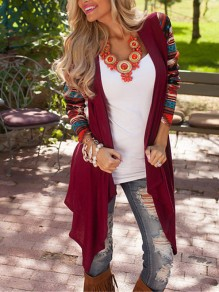 Burgundy Floral Irregular Long Sleeve Cape Fashion Cardigan Sweater
