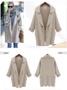 Beige Patchwork Buttons Oversize Long Sleeve Fashion Cardigan Sweater
