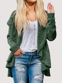 Army Green Irregular Turndown Collar Long Sleeve Oversize Cardigan Sweater
