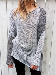 Light Grey Patchwork Round Neck Long Sleeve Oversize Pullover Sweater