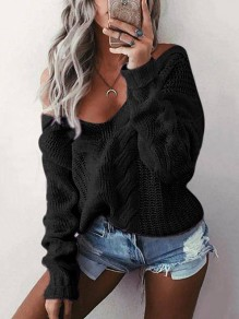 Black Cut Out V-neck Long Sleeve Casual Sweater