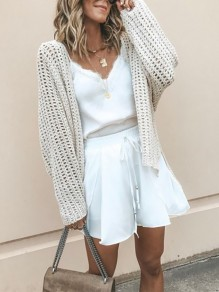Rice White Patchwork Cut Out V-neck Fashion Cardigan Sweater