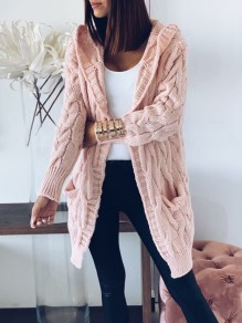 Pink Cable Knit Pockets Hooded Long Sleeve Oversize Cardigan Sweater