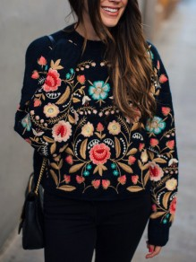 Black Flowers Print Embroidery Round Neck Long Sleeve Pullover Sweater