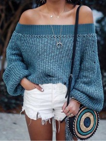 Blue Draped Off Shoulder Backless Lantern Sleeve Oversized Casual Pullover Sweater