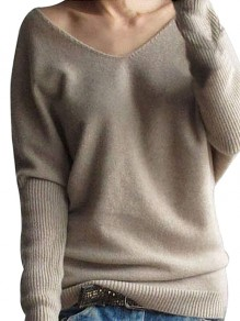 Apricot Cut Out V-Ausschnitt Langarm Casual Sweater
