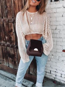 Beige Striped Cut Out Round Neck Long Sleeve Streetwear Pullover