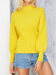 Yellow High Neck Lantern Sleeve Oversize Pullover Sweater