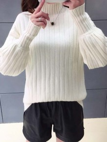 White High Neck Lantern Sleeve Oversize Pullover Sweater