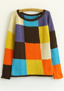 Multicolor Color Block Collarless Long Sleeve Acrylic Sweater