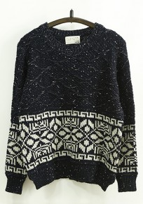 Navy Blue Geometric Print Loose Pullover