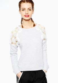 Light Grey Plain Lace Hollow-out Round Neck Long Sleeve Pullover Sweatshirt