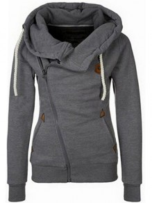 Dark Grey Pockets Side Zip Badge Drawstring Hooded Long Sleeve Casual Vogue Hooded Sweatshirt