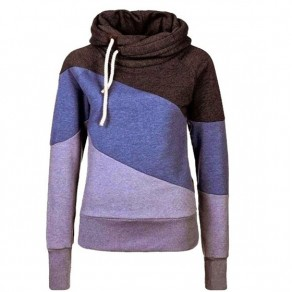 Purple Patchwork Drawstring Long Sleeve Casual Dacron Hooded Sweatshirt
