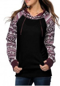 Black Patchwork Drawstring Long Sleeve Casual Polyester Hooded Sweatshirt