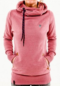 Pink Plain Drawstring Cowl Neck Streetwear Cotton Blend Pullover Sweatshirt