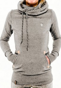 Grey Plain Drawstring Cowl Neck Streetwear Cotton Blend Pullover Sweatshirt