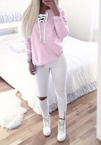 Pink Plain Cut Out Long Sleeve Fashion Sweatshirt