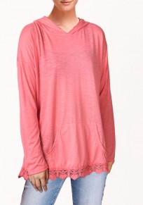 Pink Patchwork Lace Pockets Long Sleeve Cotton Blend Hooded Sweatshirt