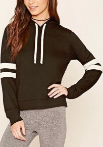 Grey Plain Round Neck Casual Polyester Hooded Pullover Sweatshirt