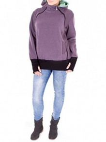 Purple Plain Multi-functional Zipper Kangaroo Baby Bags Hooded Cardigan Sweatshirt