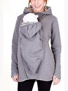 Sweatshirt à capuche kangourou portage bébé fermeture éclair manches longues occasionnel femme veste gris