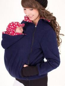 Dunkelblaue Multi-Funktions Reißverschluss Kangaroo Baby Taschen Tragejacke Kapuzenpullover Sweatshirt Hoodie