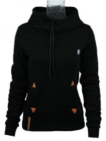 Black Geometric Print Badge Pockets Drawstring Cowl Neck Hooded Sweatshirt