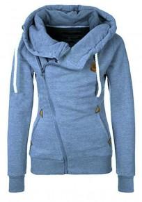 Blau Seitliche Reißverschluss Cowl Neck Tunnelzug Sweatshirt Pullover mit Kapuze Hoodie Damen Naketano Sale