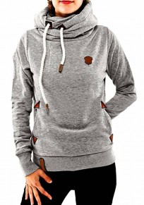 Light Grey Badge Drawstring Cowl Neck Vogue Hooded Naketano Casual Pullover Sweatshirt Hoodie Sale