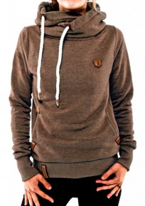 Khaki Plain Pockets Badge Cowl Neck Plus Size Casual Hooded Pullover Sweatshirt