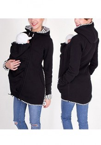 Sweatshirt à capuche kangourou porte-bébé fermeture éclair manches longues décontracté femme noir