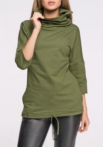 Green Plain Lace-up Plus Size High Neck Casual 3/4 Sleeve Pullover Sweatshirt