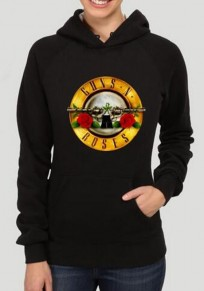 Black Monogram Guns N Roses Print Pockets Plus Size Hooded Pullover Sweatshirt