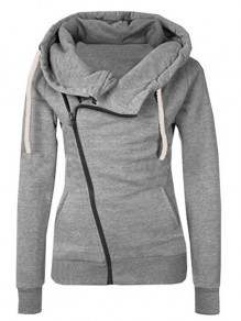 Grey Plain Side Zipper Pockets Cowl Neck Casual Hooded Cardigan Sweatshirt