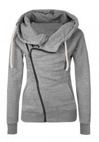 Sweatshirt à capuche côté fermeture éclair manches longues décontracté femme naketano pull gris