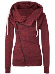 Burgundy Plain Side Zipper Pockets Cowl Neck Casual Hooded Naketano Cardigan Sweatshirt