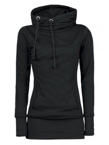 Black Plain Drawstring Pockets Cowl Neck Plus Size Naketano Hooded Pullover Sweatshirt