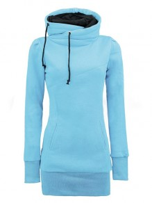 Water Blue Plain Drawstring Cowl Neck Plus Size Naketano Hooded Pullover Sweatshirt