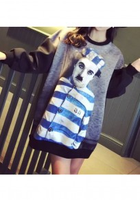 Grey Figure Pattern Round Neck Streetwear Cotton Pullover Sweatshirt
