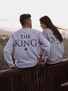La camiseta el monograma su impresión de la reina cuello redondo manga larga suéter casuales gris