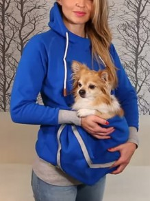 Blue Geometric Pockets Zipper Drawstring Dog Carrier Pet Pouch Hoodie Cute High Neck Sweatshirt