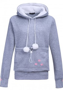 Grey Cat Footprints Pockets Drawstring Dog Carrier Hoodie Long Sleeve Cute Sweatshirt